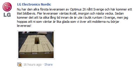 Första leveransen av LG Optimus 2X i Sverige