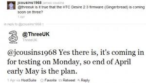 Brittiska Tre:s tweet om Android 2.3 Gingerbread för HTC Desire