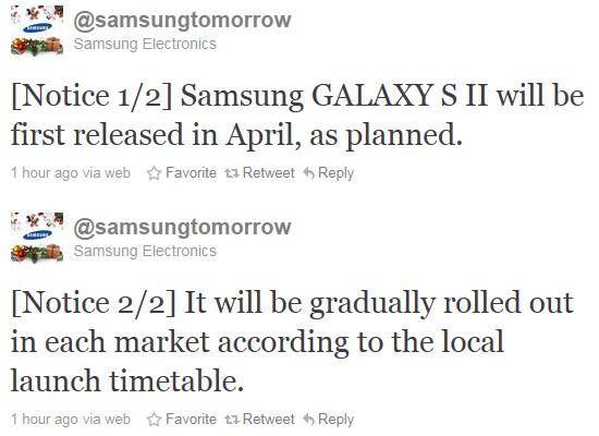Samsung:s twittrande för Galaxy S2