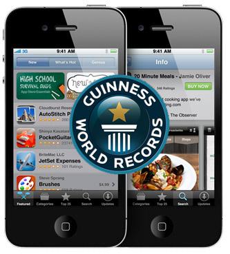 Apple:s iPhone 4 och App store träder in i Guinness rekordbok
