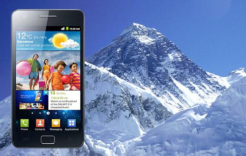 Samsung Galaxy S2 använd för tweet vid Mount Everest