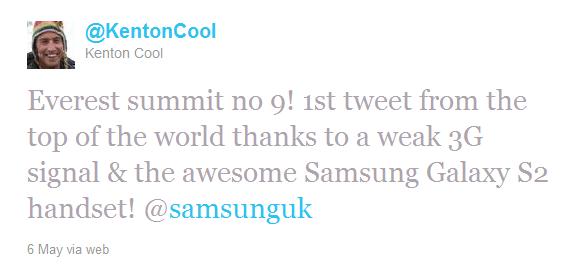 Världens högsta tweet skickad med en Galaxy S2