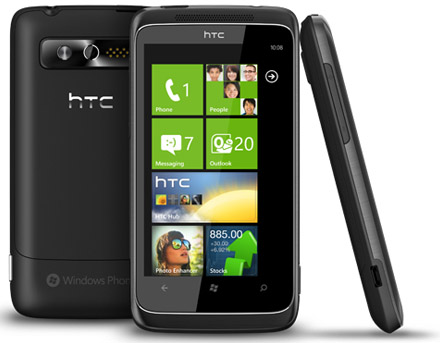 HTC 7 Trophy i olika vinklar