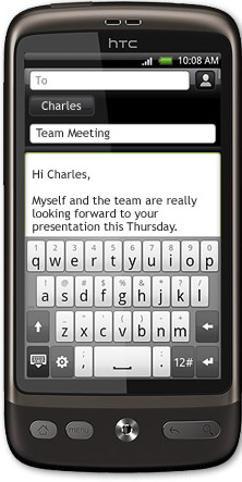 HTC Desire:s tangentbord vid mail