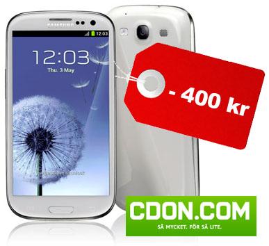 400 kr rabatt på Samsung Galaxy S III just nu på CDON