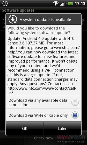 Android 4.0 Ice cream sandwich till HTC Sensation XL