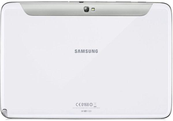 Baksidan på vit Samsung Galaxy Note 10.1