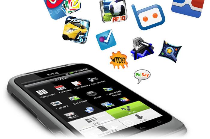 HTC Wildfire S låter dig enkelt ladda ner och dela appar med dina vänner